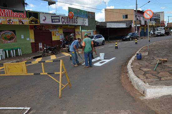 Prefeitura realiza poda de árvores e gramas e faz sinalização do trânsito