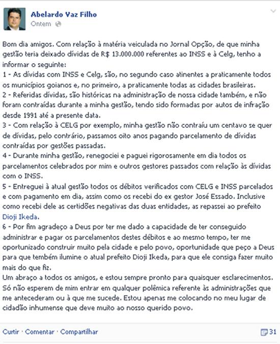 Ex-Prefeito contesta dados sobre dívida da Prefeitura de Inhumas