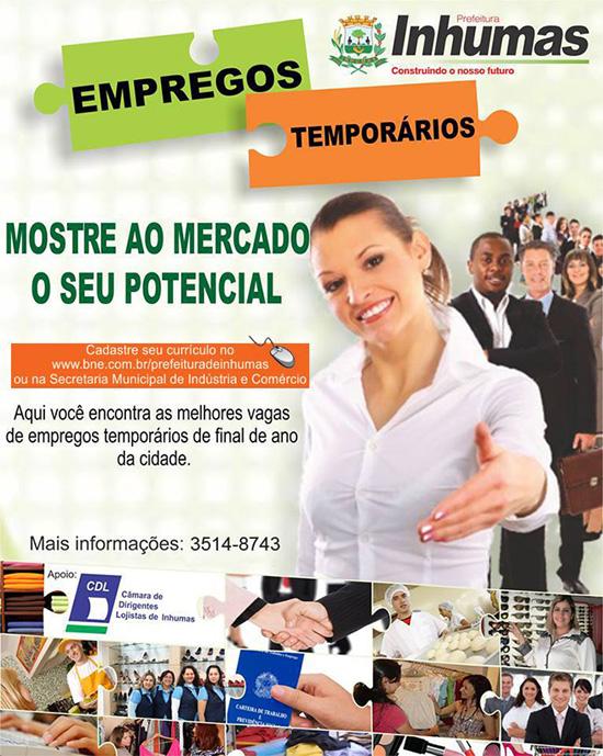 Emprega Inhumas oferta vagas de empregos temporários