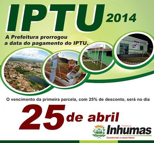 Prefeitura de Inhumas prorroga prazo para o pagamento do IPTU