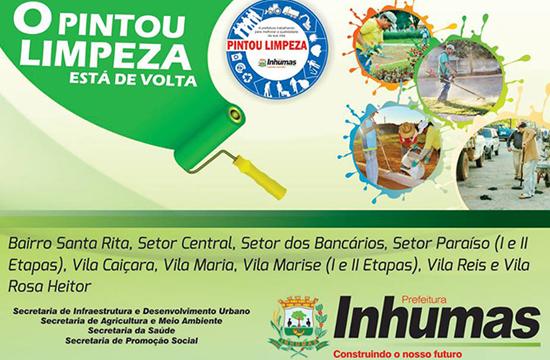 Prefeitura de Inhumas irá Promover mais uma Edição do Programa Pintou Limpeza