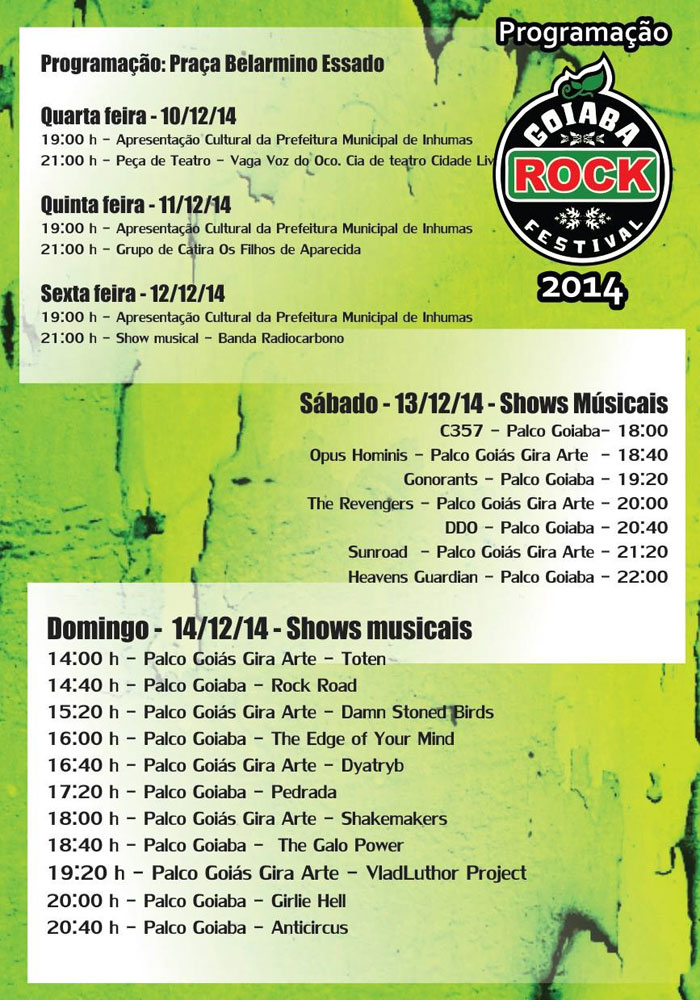 Programação do Goiaba Rock 2014