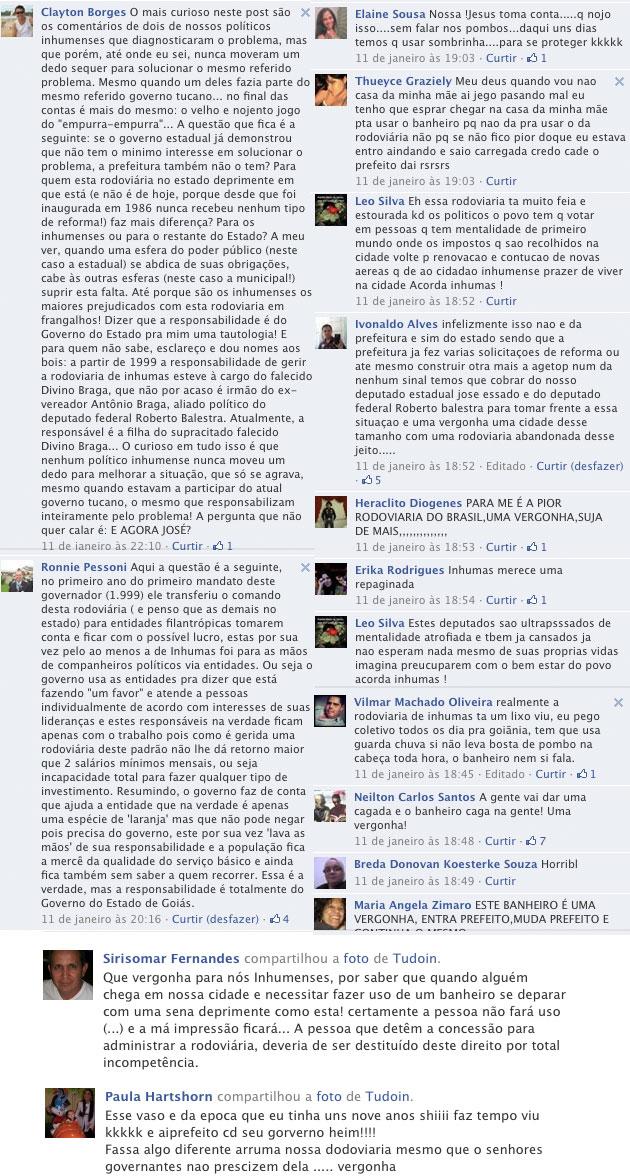 Relatos deixados na pagina do TUDOIN no Facebook